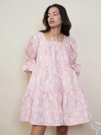 sister jane STRAWBERRY COURT Sideline Jacquard Mini Dress Rosewater / romantic voluminous tiered dresses / floral fashion