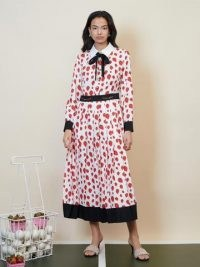 sister jane Strawberry Court Pleated Midi Dress White and Red / fruit print dresses / strawberries on fashion