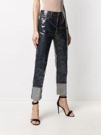 Dsquared2 laminated-finish denim jeans | turn up hems | cuffed | shiny | high shine | women's casual fashion