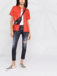 Dsquared2 paint splatter-effect cropped jeans | women's ripped crop leg skinnies | skinny | grey splattered denim
