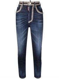 Dsquared2 stud embellished cropped jeans | studded crop leg skinnies