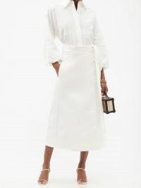 GABRIELA HEARST Duane white denim midi wrap skirt ~ side tie waist skirts
