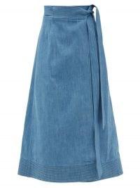 GABRIELA HEARST Duane blue denim midi wrap skirt