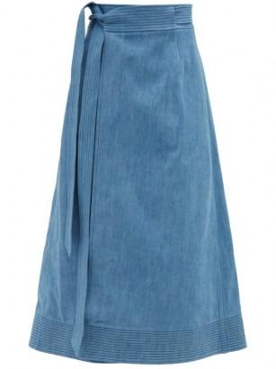 GABRIELA HEARST Duane blue denim midi wrap skirt - flipped