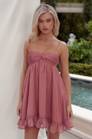 CLUB L LONDON DUSTY PINK TEXTURED SATIN BABY DOLL CAMI MINI DRESS – skinny strap ruched bust empire waist dresses - flipped