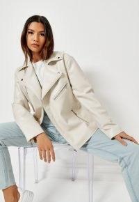 MISSGUIDED ecru faux leather belted waist biker jacket ~ womens affordable luxe style jackets ~ women's zip detail outerwear