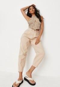 Missguided ecru high rise cropped leg carrot jeans | neutral denim