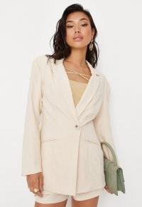 MISSGUIDED ecru linen look fitted blazer ~ women's neutral single breasted summer blazers