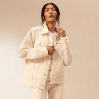 RIVER ISLAND Ecru RI Studio oversized denim jacket ~ women's casual jackets