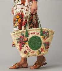 TORY BURCH ELLA EMBROIDERED STRAW BASKET TOTE BAG / playful fruit themed summer bags
