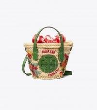 TORY BURCH ELLA EMBROIDERED STRAW MICRO BASKET / womens summer crossbody bag / cute mini baskets / women's small top handle bags / woven fruit themed summer handbag