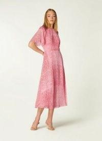 L.K. BENNETT ELOWEN PINK ANIMAL PRINT MIDI DRESS ~ floaty fabric occasion dresses