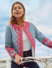 Boden Embroidered Cotton Jacket Ivory, Pretty Paisley / printed open front jackets /