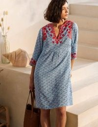 Boden Embroidered Linen Dress Ivory, Pretty Paisley / relaxed kaftan style summer dresses
