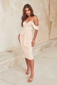 LAVISH ALICE embroidered mesh bardot corset dress in champagne / floral off the shoulder occasion dresses