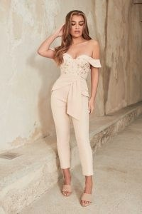 LAVISH ALICE embroidered mesh bardot corset jumpsuit in champagne / fitted off the shoulder evening tops