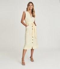 REISS EMMA LINEN BLEND MIDI DRESS LEMON ~ women's pale yellow summer dresses