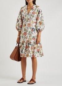 ERDEM Vacation Formentera printed cotton-poplin dress | floral balloon sleeve frill hem dresses