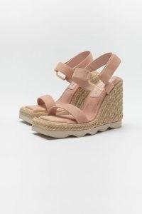 GOOD AMERICAN ESPADRILLE WEDGE SANDAL | pale pink square toe wedges