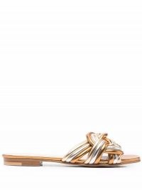Etro metallic-knot sandals | knotted gold and silver tone flat leather mules