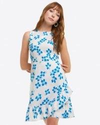 Draper James Faux Wrap Dress in Blue Orchid | sleeveless floral print ruffle hem summer dresses