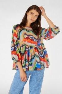 Rebecca Scibilia x Gorman FELT TIP FOREST TOP – vibrant multicoloured smock tops