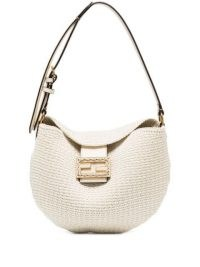 Fendi small Croissant crochet shoulder bag in ivory / chic fabric covered leather handbags / logo plaque bags