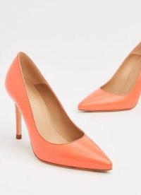 L.K. BENNETT FERN CORAL LEATHER COURTS ~ bright pointed toe court shoes