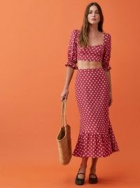 REFORMATION Fiona Two Piece in Campari / polka dot crop top and ruffled hem skirt / summer fashion sets