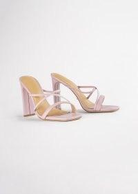 TONY BIANCO Fior Mauve Nappa Heels ~ front crossover strap sandals ~ strappy square toe mules