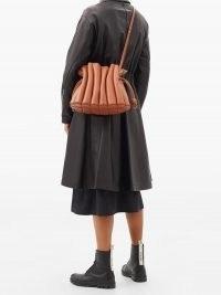 LOEWE Flamenco Ondas leather cross-body bag~ gathered tan crossbody ~ light brown shoulder bags