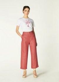 L.K. BENNETT FLO STRIPED LINEN-BLEND CROPPED TROUSERS / women's crop leg summer pants