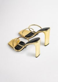 TONY BIANCO Florence Gold Foil Heels – metallic double strap mules – luxe square toe mule sandals