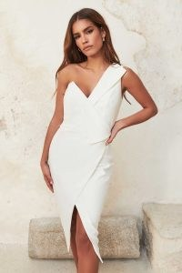 lavish alice folded one shoulder wrap midi dress in white ~ asymmetric occasion dresses ~ glamorous evening fashion