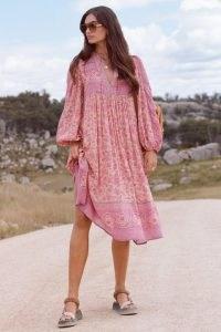 SPELL DESIGNS FOLK SONG BOHO DRESS Blossom   pink floral bohemian dresses   women's vintage style fashion   womens 60s & 70s retro clothing
