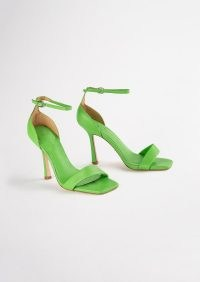 TONY BIANCO Funky Lime Nappa Heels ~ bright green square toe barely there high heels ~ ankle strap sandals