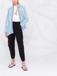 GANNI asymmetric wavy shirt ~ women's blue and white striped shirts