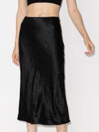 GANNI black crinkled midi skirt | crease effect skirts
