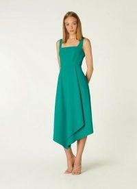 L.K. BENNETT GENEIVE TEAL ASYMMETRIC HEM DRESS ~ sleeveless fluid fabric occasion dresses ~ square neck