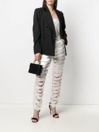 Givenchy ripped straight-leg satin finish trousers