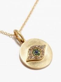 ILEANA MAKRI Evil Eye diamond & 18kt gold necklace / luxe pendant neckalces