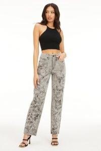 GOOD AMERICAN GOOD '90S MARBLED GREY002 | women's high waist grey marble denim jeans