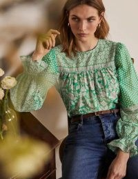 Boden Gracie Cotton Blouse Leafy Green, Meadow Flight / bird prints / mixed print balloon sleeve blouses