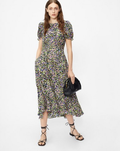 TED BAKER DEYJA Graduated midi dress with ruched puff sleeve - flipped