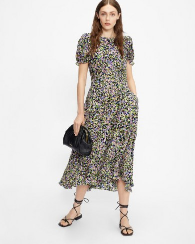 TED BAKER DEYJA Graduated midi dress with ruched puff sleeve