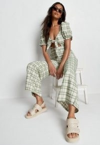 Missguided green check tie front wide leg jumpsuit | plunge front cut out jumpsuits | womens summer fashion