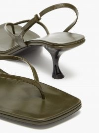 THE ROW Constance green mid-heel leather sandals / strappy thonged slingbacks / curved heel square toe sandal