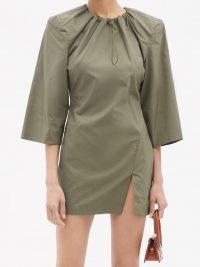 THE ATTICO Drawstring-neck cotton-poplin mini dress | khaki-green slit hem dresses
