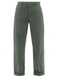 A.P.C. Gaelle green cropped cotton chino trousers | womens straight leg crop hem pants | women's casual fashion