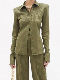 THE ATTICO Padded-shoulders logo-jacquard satin shirt in khaki-green   women's retro styled shirts